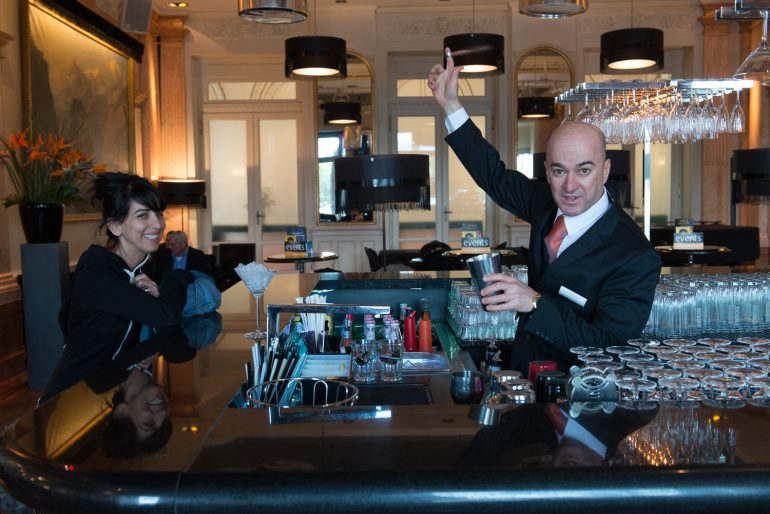 Bartender showing off his skills