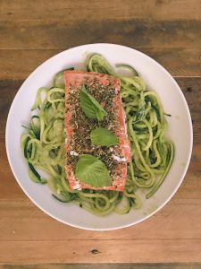 Zucchini Noodles topped with wild caught herb salmon