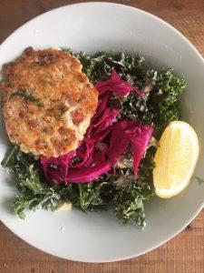 Salmon Patty Kale and quiona veggie bowl